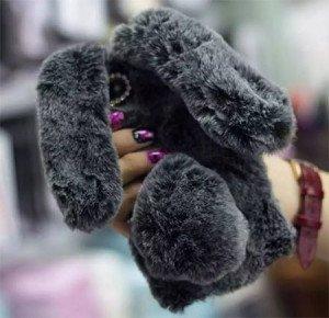 Coque en fourrure véritable lapin pour iPhone 8 8plus iphone x 4